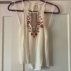 The Impeccable Pig White Deep V Tank Roses Detail